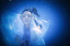 Underwater close up portrait of a woman Royalty Free Stock Photos