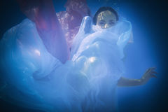 Underwater close up portrait of a woman stock image