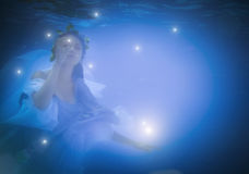 Underwater close up portrait of a woman royalty free stock images