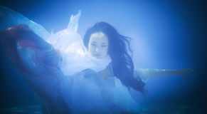 Underwater close up portrait of a woman stock photo