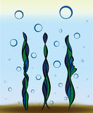 Underwater colored plants. Few underwater colored plants and bubbles Royalty Free Stock Image