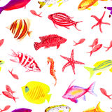 Underwater colorful watercolor seamless vector print. Underwater colorful fauna watercolor seamless vector print Stock Photo