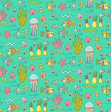 Underwater coolorful sea doodles seamless vector pattern Stock Photos