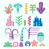 Underwater coral plants. Set of underwater animals and plants coral reef. Cartoon flat vector illustration. Objects isolated on a white background Stock Photography