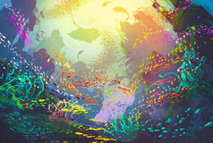 Underwater with coral reef and colorful fish. Illustration painting Stock Photo