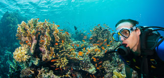 Underwater coral reef with man scuba diver exploring sea bottom. Stock Photo