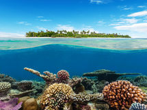 Underwater coral reef with tropical island Royalty Free Stock Images