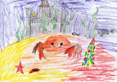 Underwater crab and sunken castle. child drawing. Underwater crab and sunken castle. childs drawing Stock Images