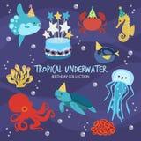 Tropical Underwater Birthday stock illustration