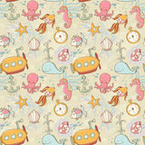 Underwater creatures cute cartoon seamless pattern Stock Photography