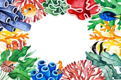Underwater creatures frame border with multicolored corals,seaweeds,fish,seahorse stock image