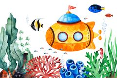 Underwater creatures pre-made greeting card with multicolored corals,seaweeds,fish,seahorse and yellow submarine stock photography