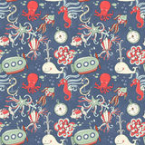 Underwater creatures seamless pattern Royalty Free Stock Photos