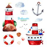 Watercolor set with anchor,lighthouse,ship,seagulls and clouds. Underwater creatures.Watercolor set with anchor,lighthouse,ship,seagulls and clouds.Perfect for royalty free illustration