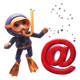 Underwater 3d cartoon of a scuba snorkel diver looking at an email address symbol sinking to the ocean floor, 3d illustration. Render stock illustration