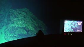 Underwater deep sea mountains canyon view from submarine in ocean Cocos Island. stock footage