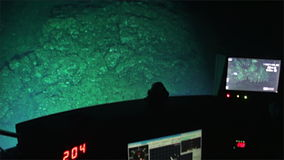Underwater deep sea mountains from submarine in Ocean Cocos Island Costa Rica. stock video