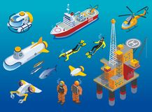 Underwater Depths Research Isometric Icons. With scientific station, divers, ship, submarine and unmanned equipment isolated vector illustration Stock Image