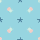 Underwater design of seamless pattern for wrapping, textile, print. Seastar and jellyfish colorful vector illustration. Elements Royalty Free Stock Photo