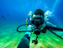Underwater diver selfie. Royalty Free Stock Photos