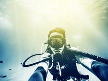 Underwater diver selfie. Royalty Free Stock Images
