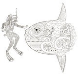 Underwater diver in zentangle style. Underwater moon fish and diver in zentangle style. Adult antistress coloring book. Black white doodle oceanic animal for Stock Photography