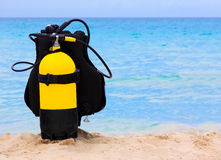 Underwater diving equipment on a cuban beach Stock Image