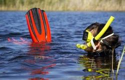 Underwater diving girl Royalty Free Stock Image