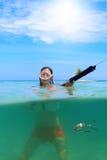 Underwater diving girl Stock Image