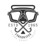 Underwater diving sport center estd 1965 vintage logo. Black and white vector Illustration. For diver school or club emblem, elements for badge, print, tattoo Royalty Free Stock Photos