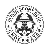 Underwater diving sport club vintage logo. Black and white vector Illustration. For diver school or club emblem, elements for badge, print, tattoo, label Royalty Free Stock Photo