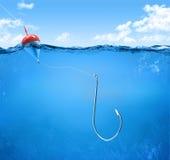 Underwater do gancho de pesca Imagens de Stock Royalty Free