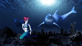 Underwater dolphins and mermaid Stock Photo