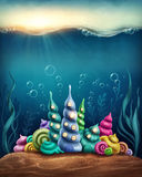 Underwater fantasy kingdom. With shell houses Stock Images