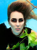 Underwater fashion portrait of beautiful blonde young woman Royalty Free Stock Photos