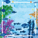 Underwater fish decor frame Royalty Free Stock Photo