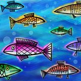 Underwater Fish Shoal Painting Royalty Free Stock Image