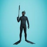Underwater fisherman in full equipment Stock Image