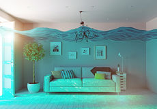 Underwater  flooding interior Royalty Free Stock Photo