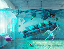 Underwater  flooding interior Royalty Free Stock Image