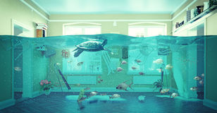 Underwater  flooding interior Royalty Free Stock Photos