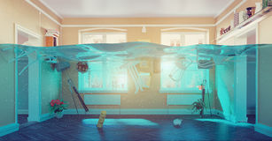 Underwater  flooding interior Stock Photos
