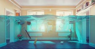 Underwater  flooding interior Stock Photos