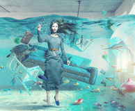 Underwater  flooding interior Royalty Free Stock Photography