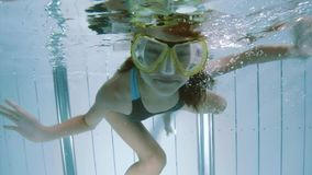 Underwater girl in aquapark stock video