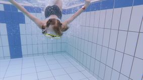 Underwater girl in aquapark stock video footage