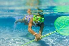 Underwater girl snorkeling Royalty Free Stock Photo