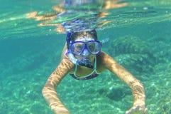 Underwater girl snorkeling Royalty Free Stock Images