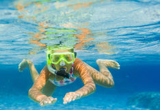 Underwater girl snorkeling Royalty Free Stock Photography