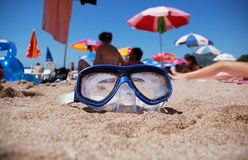 Underwater Goggles. On the beach sand stock photography